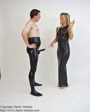 Pantyhose with testicle condom glued in and options