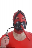 Inflatable gag head harness breathing tube option lockable