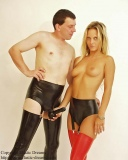 Sleek fitting panty with testicle condom, suspenders and options