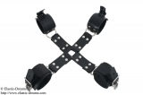 Bondage cross with hand- and feet cuffs option lockable