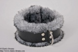 Collar deluxe 5,5cm widely with art fur, husky grey
