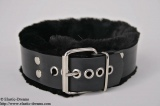 Collar deluxe 4,0cm wide w. art fur, black a. D-Ring option lockable