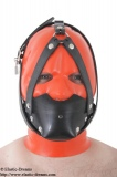 Rubber muzzle with chinstrap and inflatable gag