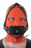 Inflatable gag head harness with pressure ball option lockable